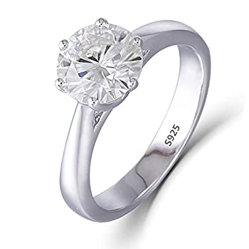 DovEggs Sterling Silver 1.5ct 7.5mm G-H-I Color Heart Arrows Cut Moissanite Engagement Ring Solitare for Women 2.5mm Band Width 5