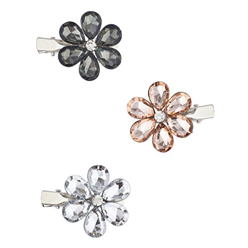 Lux Accessoires Argenté Floral Fleur imitation pierre précieuse Multi Pince à cheveux Lot 3PC
