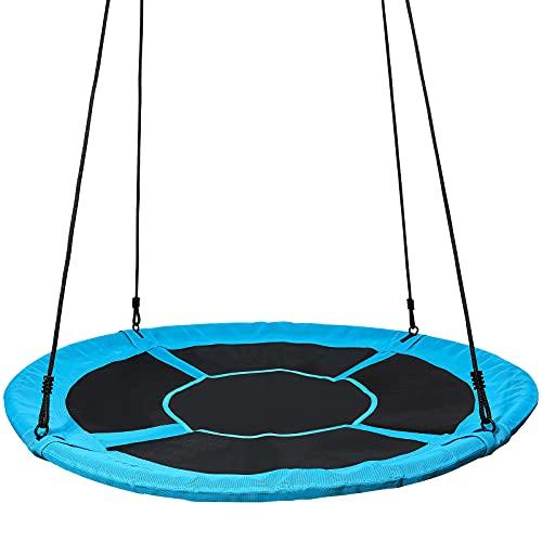 Yorbay Nestschaukel Tellerschaukel Kinder Rundschaukel Outdoor Ø 150 cm, Blau, kein verbleichen, bis 400 kg belastbar Mehrweg