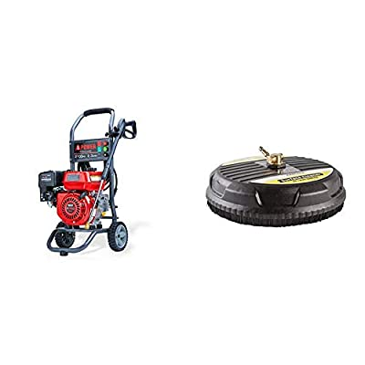 A-iPower APW2700C Gas Powered Pressure Washer 2700 PSI and 2.3 GPM 7HP with 3 Nozzle Attachments, CARB Compliant, Red & Karcher 15-Inch Pressure Washer Surface Cleaner Attachment, 3200 PSI Rating