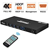 TESmart 4x4 HDMI Matrix Switch 4K bei 30Hz UHD | 4 in 4 Out HDMI Matrix Switcher HDCP 1.4 Video Switcher Unterstützt IR-Fernbedienung, RS-232, Abschaltspeicherfunktion