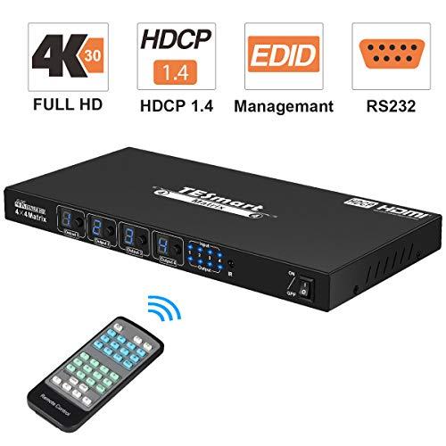 TESmart 4x4 HDMI Matrix Conmutador Ultra HD 4 Puertos Switch Splitter con RS232 Control Remoto IR Compatible con 4K 2K @ 30Hz, HDMI, 3D y Deep Color, Compatible con HDCP