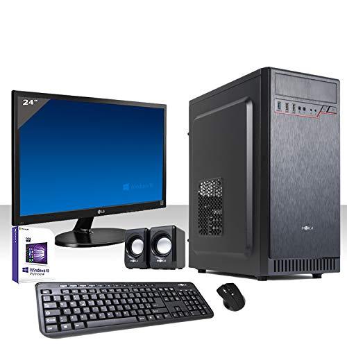 PC DESKTOP INTEL QUAD CORE LICENZA WINDOWS 10 PROFESSIONAL ORIGINALE WIFI HD 1TB SATA III RAM 8GB 2400MHZ,AUDIO, VIDEO MONITOR 24  LED FULL HD HDMI VGA DVI  TASTIERA E MOUSE USB PC FISSO COMPLETO