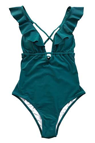 CUPSHE Women's One Piece Swimsuit Ruffle Deep V Neck Strappy Swimwear Bathing Suits Blue L
