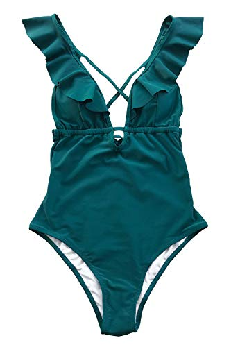 CUPSHE Women's One Piece Swimsuit Ruffle Deep V Neck Strappy Swimwear Bathing Suits Blue M