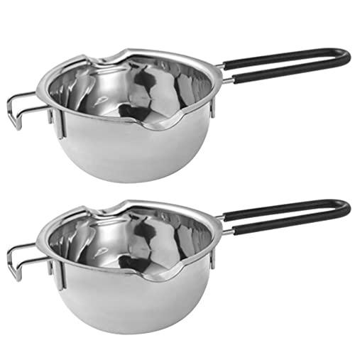 Yardwe 2 unids mantequilla calentador de leche con mango largo mini cafetera turca de acero inoxidable olla de fusión cacerola de leche cacerola utensilios de cocina Accesorios de cocina 480 ml