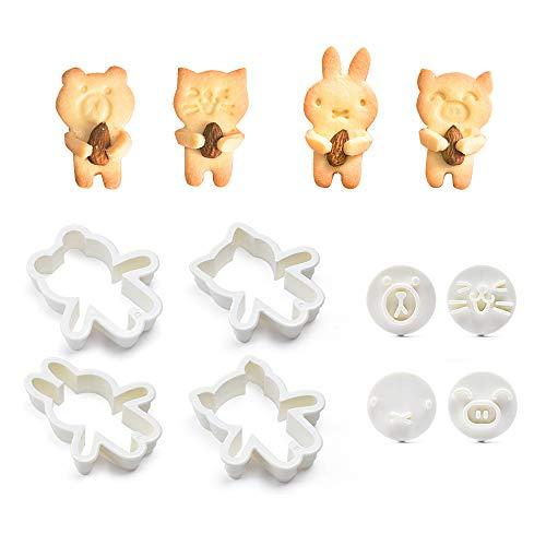 Juego de 8 moldes para galletas con diseño de oso, gato, conejo, cortador de galletas y sellos faciales