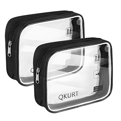 QKURT 2 Paquets de Trousse de Toilette imperméable Transparente, Pochette de Maquillage cosmétique Claire en PVC Portable pour Salle de Bain, Excursion|Trousses de Maquillage Transparentes Pratiques