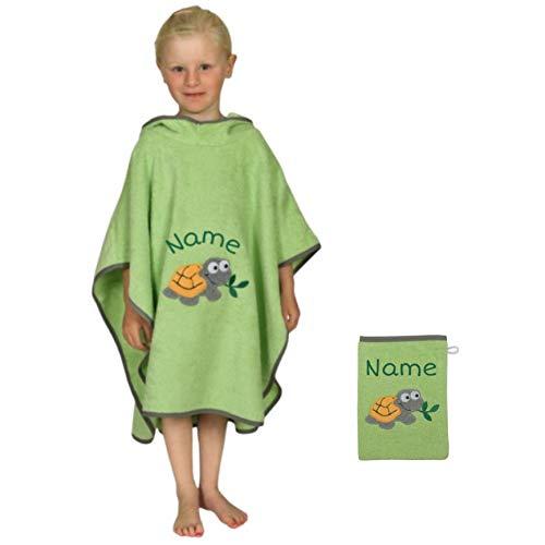 Stickling SET Kinder Badetuch Poncho und Waschhandschuh Waschlappen bestickt | 100% BIO Baumwolle | personalisiert mit Namen | Baby Kapuze Bademantel | Badeponcho (Opalgrün)