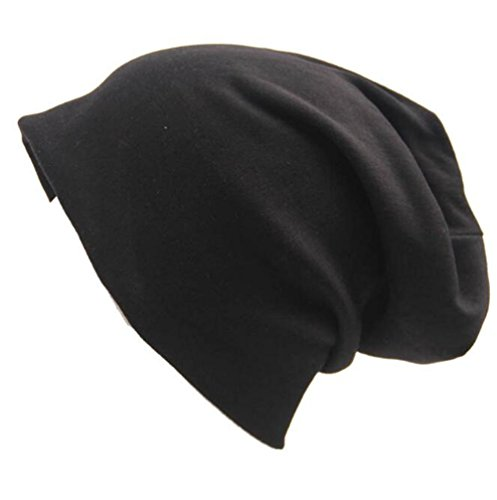 Century Star Unisex Women Thin Solid Baggy Slouchy Lightweight Oversized Cotton Sleep Beanie Hat Skull Cap Black