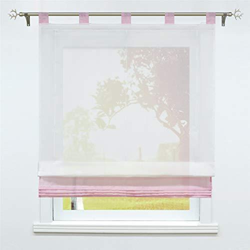 SCHOAL Raffrollo mit Schlaufen Transparente Raffgardine Schlaufenrollo Gardinen Modern Voile 1 Stück BxH 80x155cm Rosa