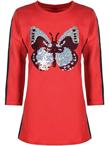 KMISSO Mädchen Kleid Longshirt Pullover Lang Arm Schmetterling Wende Pailletten 30197 Rot 110