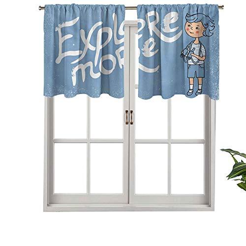 Hiiiman Cenefa de diseño de moda con aislamiento térmico para ventana, diseño de dibujos animados con prismáticos sobre fondo de estilo grunge, juego de 1, 137 x 45 cm para habitación de los niños