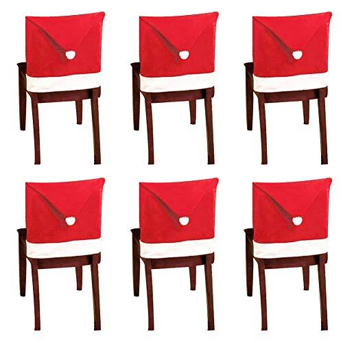 10 Pezzi Coprisedie per Cappelli di Babbo Natale Coprisedili per sedie a Tema Natalizio Decorazione per tavola da Pranzo Rossa e Bianca per Feste di Natale