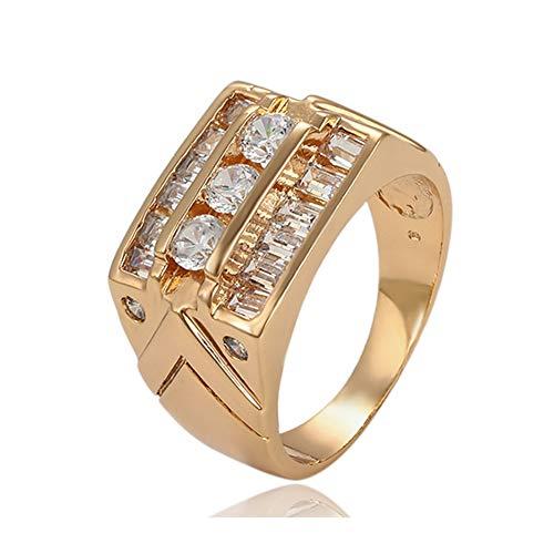 Anillo Oro Amarillo DE 18 KILATES Mujer Talla 14 con Diamantes ENGARZADOS 18K Quilates K Alianza Boda Sello Solitario PEDIDA SORTIJA