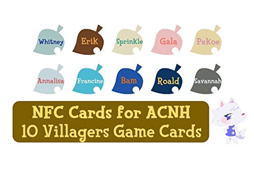 NFC Tag Game Cards for ACNH for Switch/Switch Lite/Wii U - Whitney, Erik, Sprinkle, Gala, Pekoe, Annalisa, Francine, Bam, Roald and Savannah