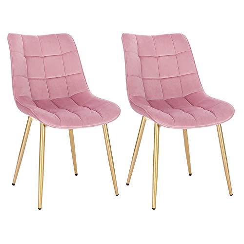 EUGAD 0672BY-2 2X Esszimmerstühle Küchenstuhl Polsterstuhl Wohnzimmerstuhl Sessel, Sitzfläche aus Samt, Metall Gold Beine, Rosa