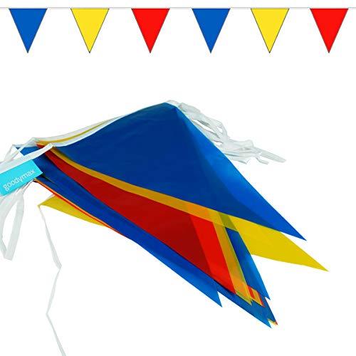 goodymax® Wimpelkette 10 m Blau-Gelb-Rot - viele weitere Farben & Farbkombinationen zur Auswahl