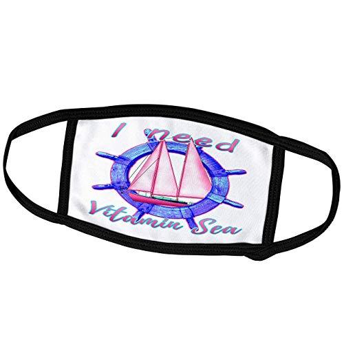 Promini Month Mask - Macdonald Creative Studios – Nautical - Fun Coastal I Need Vitamin Sea Nautical Beach Quote with Sailboat. - Dust Mask Outdoor Protective Mask
