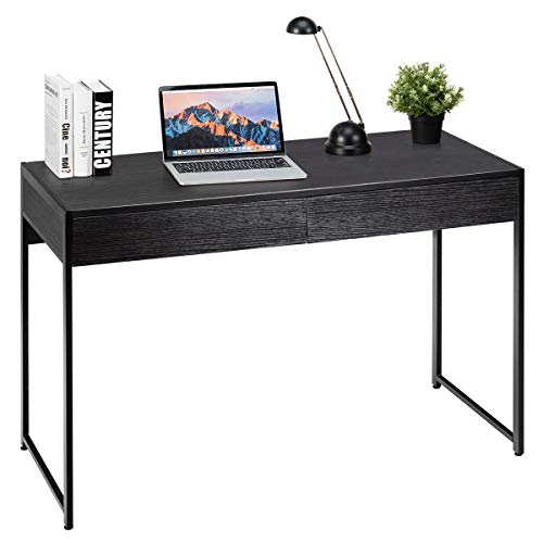 Tangkula Computer Desk with 2 Drawers, Simple Wooden Study Writing Desk with Steel Frame, 44 Inches Laptop PC Workstation, Student Desk Home Office Desk Ideal for Bedroom & Office (Black)