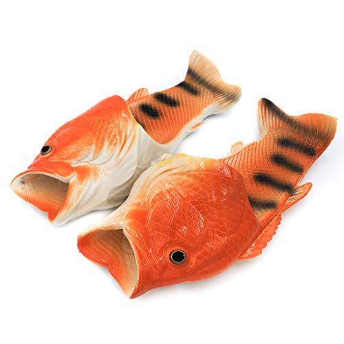 Coddies Fisch Flops | Strandschuhe, Flip Flops, Freizeitschuhe, Hausschuhe, Duschschuhe und Sandalen für Männer, Frauen und Kinder, Orange, 44/45 EU