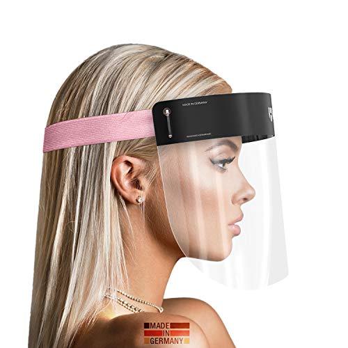 HARD 1x Pro Visera de protección facial, Certificado médico, Protector de plástico Antivaho, Pantalla protectora para adultos, Hecho en Alemania - Negro/Rosa