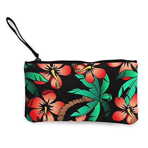 Monedas de lona, dibujadas a mano con palma tropical y hibisco, bolsa de cosméticos de viaje con cremallera, bolsas de maquillaje multifunción para teléfono móvil, paquete de lápices con asa