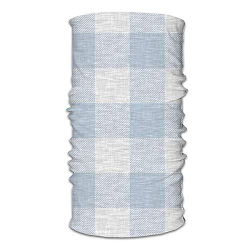 Nother Máscara facial multifuncional unisex de búfalo a cuadros azul y gris con textura de lino, y bandana casual para la cabeza, pasamontañas, bufanda para el pelo para las mujeres