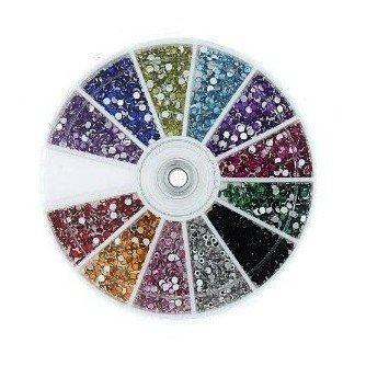 B-black® Strass multicolores à dos plat de différentes tailles, parfaits pour le Nail Art et la reconstruction des ongles, fournis dans une boîte ronde à compartiments et couvercle rotatif