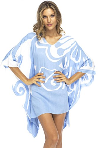 Back From Bali Womens Loose Beach Dress Cover Up Short Poncho Butterfly Blue