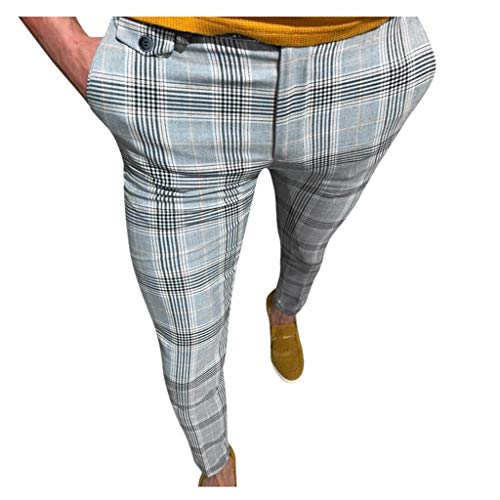 Men Dress Pants,Casual Plaid Stretch Flat-Front Skinny Business Pencil Long Pants Trousers Pocket Yellow
