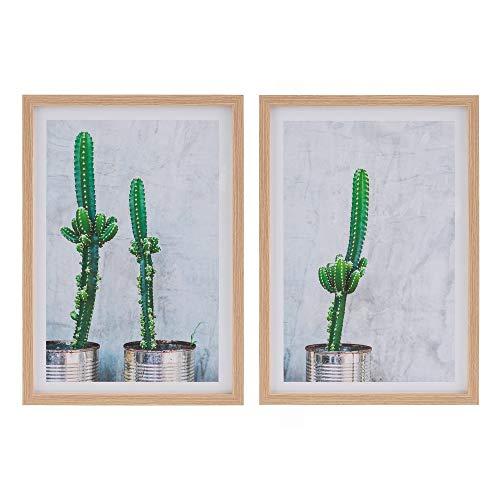 Set de 2 Cuadros de Cactus de metacrilato Verde - LOLAhome