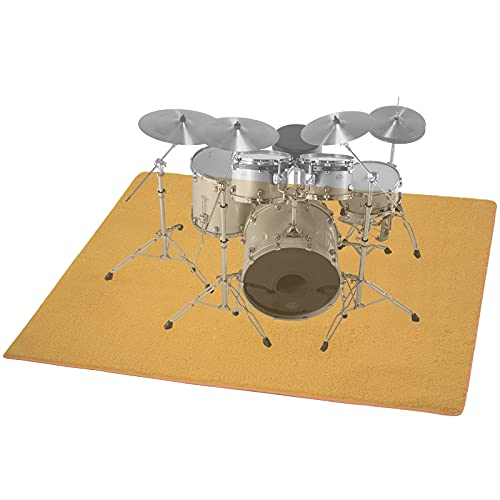 MAYQMAY Drum Rug Drum Mat Drum Carpet, Tightly Woven Fabric with Non-Slip Grip Bottom, Noise Reducer, Audio Isolation, 5.3Ft x 6.6Ft, Roll of 34.98 Square Feet, Great Gift for Drummers