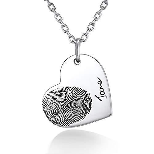 Custom4U 925 Sterling Silber Herz Anhänger, persönliche Fingerabdruck Anpassen Anhänger, Fingerabdruck benutzerdefinierte Gedenkschmuck…
