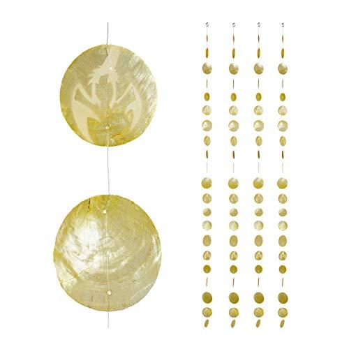 Relaxdays Capiz Girlande 4er Set, für Fenster, Balkon, Tür, Muschelplättchen Vorhang, Dekoketten 180 cm, Hummer, gelb, 4 Stück