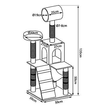 dibea Arbre à Chat avec Griffoir/Centre d'Activités - 60 x 60 x 133 cm - Gris/Blanc