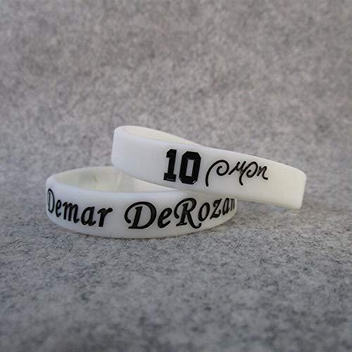 Xi-Link Spurs Basketball-Star No. 10 Dema. DeRozan Unterschrift Sportfans Schmuck Armband Silikon-Armbänder (Color : White, Size : 17CM)