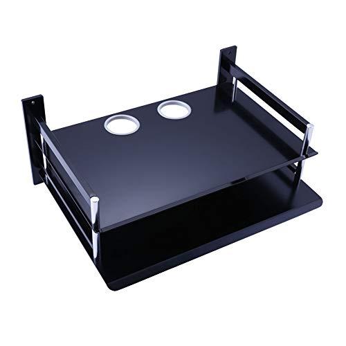 WWWANG Flotantes estantes de la Pared Set Top Box Rack Router Soporte de Aluminio del Espacio de Almacenamiento multifunción WiFi, 2 Estilos Almacenamiento (Color : Black, Size : 34.5X25X15CM)