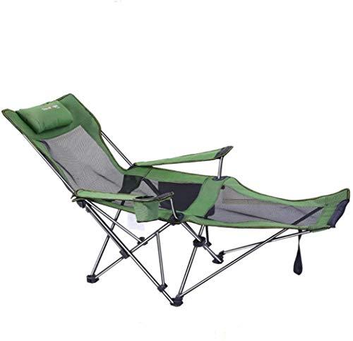 Portable al aire libre reclinable plegable con almohadas, sillas de playa plegable que acampa, silla del ocio de pescar portátil con respaldo for el camping, senderismo, playa, picnic, (color: verde y