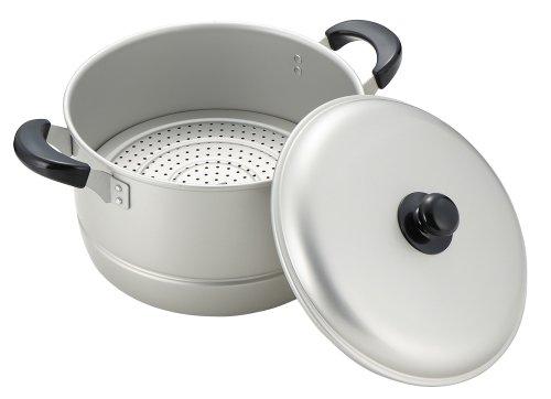 パール金属 両手鍋 蒸し鍋 兼用鍋 シルバー 26cm 鍋蓋付 ガス火専用 アルミ ニューセレット ワコートレーディング H-2416