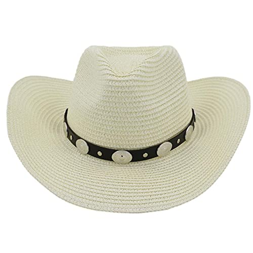 RLZ Ladies Western Cowboy Straw hat Outdoor Beach hat Sunscreen Sun hat (Color : 3, Size : (56-58cm))