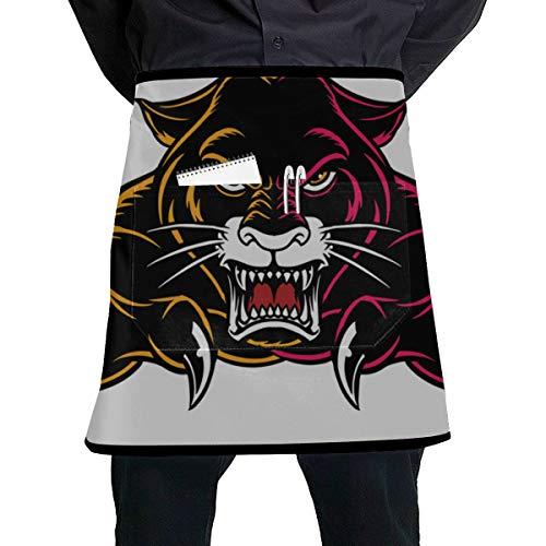 WYYWCY Kellnerin Kostüm Schürze Schwarz Jaguar Panther Schöne Augen Taille Schürzen für Frauen mit großer Tasche Unisex für die Küche Handwerk Grill Zeichnung