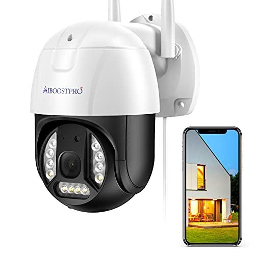 AIBOOSTPRO Telecamera CCTV Telecamera di Sicurezza da Esterno 1536P per Sicurezza Domestica con panoramica inclinazione 355Â ° Visione Notturna IP66 Impermeabile Smart Motion Tracking iOS Android