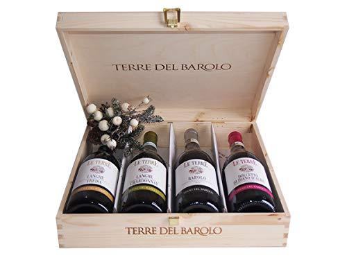 Selezione Vini Terre del Barolo In Cassetta Legno Originale - Idee Regalo Vino per Natale - cod 217