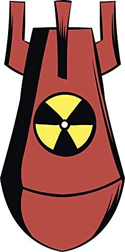 EW Designs Cool Red Biohazard Nuclear Bomb Cartoon Vinyl Decal Bumper Sticker (4' Tall)