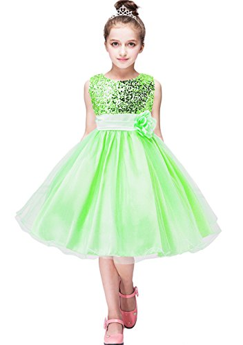 YMING Sequin Girls Dress Wedding Party Dress Tutu Tulle Dress Party Prom Dress 9-10 Years Green