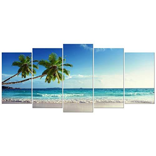 ZFKOB Pintura Decorativa de 5 lienzos Moderno Océano Mar Playa Impresiones Lona Paisaje Marino Cuadros de 5 Piezas Arte Pared para la Sala de Estar Dormitorio Decoraciones para el hogar