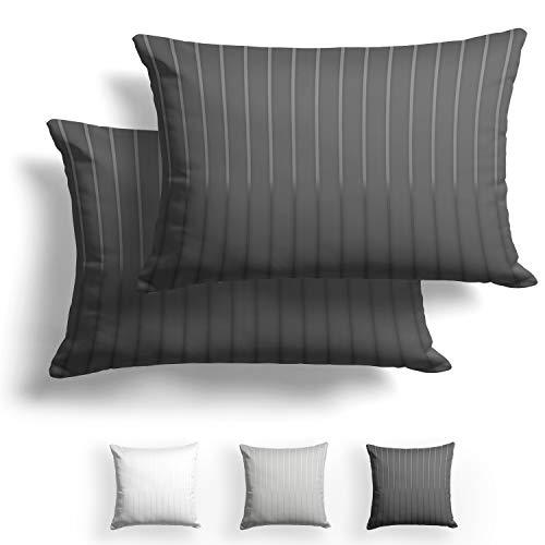 Alreya Mako Juego de 2 fundas de almohada de raso, 50 x 75 cm, con rayas color antracita, 100%...