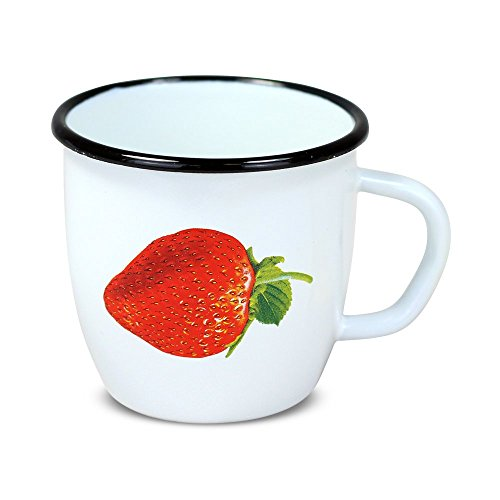posylka.de Tasse - Erdbeere, emailliert, weiß, 0,25 Liter