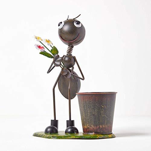 Homescapes - Figura decorativa de jardín con ramo de flores, pintada a mano, de hierro, con maceta de metal, figura de animal para jardín y balcón, color verde, aprox. 32 cm de alto.